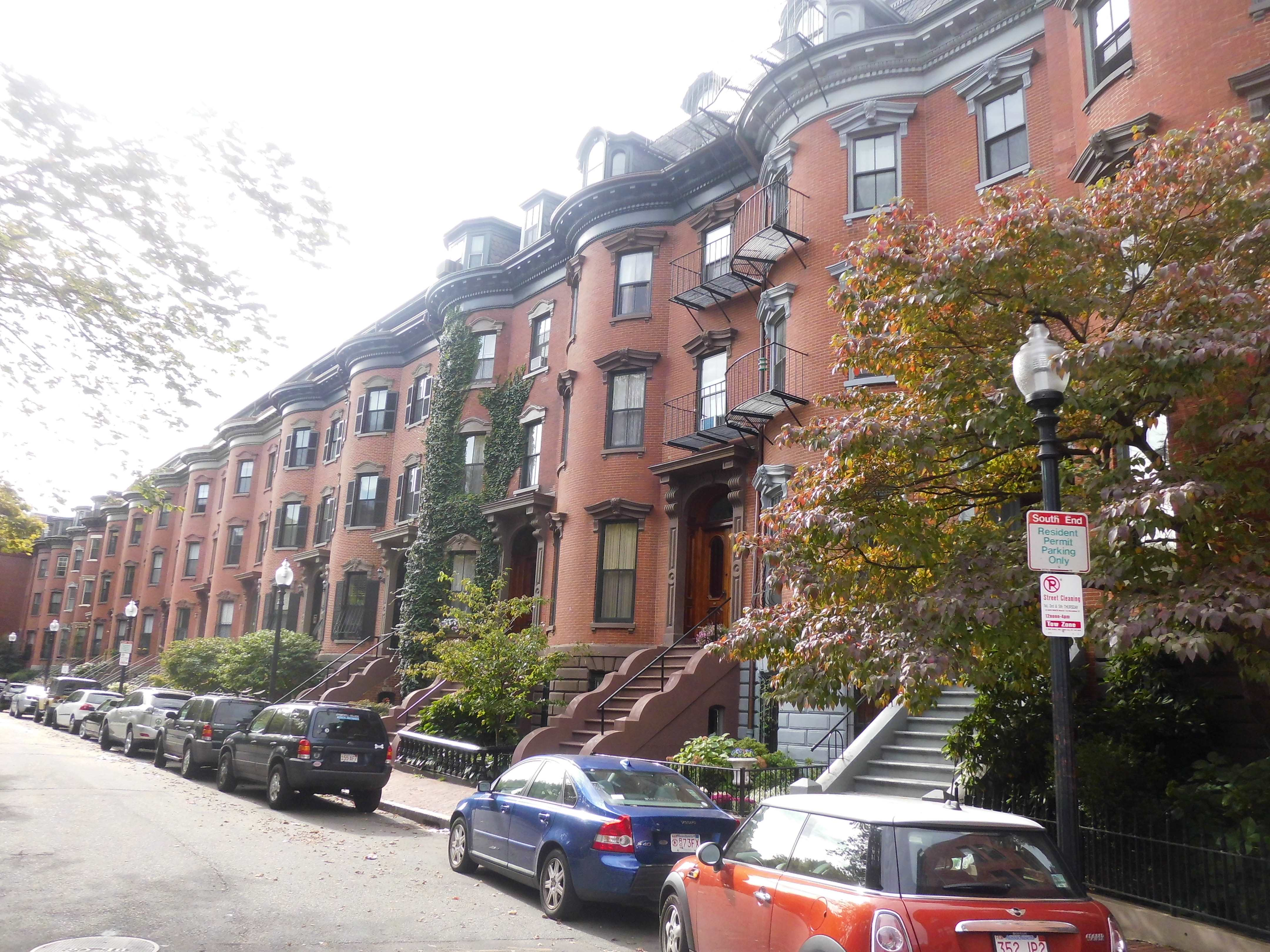 Brownstones Along Residential Street. The South End ...